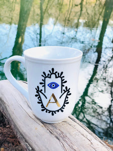 Evil Eye Design Hamsa Hand Personalized Mug Custom Gift With First Letter Of Your Name Pick Your Letter Mug
