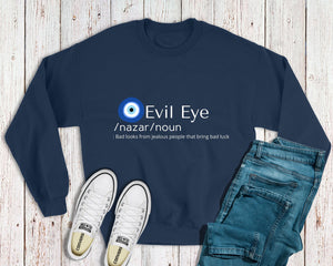 Evil Eye Meaning Sweatshirt With Evil Eye Design Amida By Zaa/ Crew Neck Adult Sweatshirt Hoodie T-Shirt Custom Made