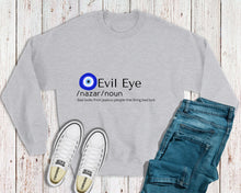 Load image into Gallery viewer, Evil Eye Meaning Sweatshirt With Evil Eye Design Amida By Zaa/ Crew Neck Adult Sweatshirt Hoodie T-Shirt Custom Made