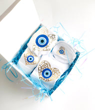 Load image into Gallery viewer, Evil Eye Design Custom Baby Gift Set With Your Baby Name Baby Onesie Evil Eye Custom Baby Bib