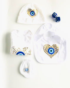 Evil Eye Design Custom Baby Gift Set With Your Baby Name Baby Onesie Evil Eye Custom Baby Bib