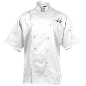 chef's jackets, 100% Egyptian cotton, white, short sleeves, made in Canada