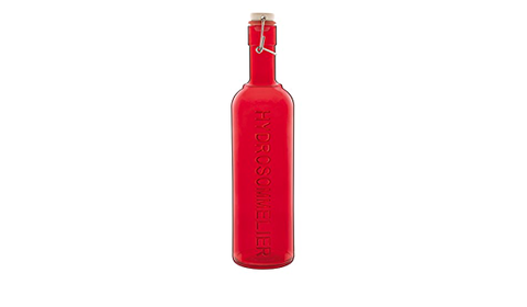 water bottle, swing top, red glass, made in Italy