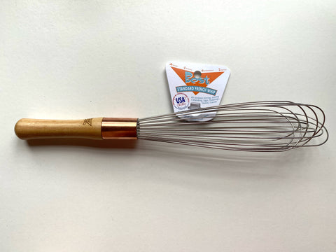 "whip, 12"", wood handle, light wire, French with copper ferrule"