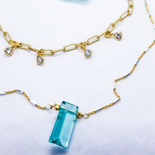 Load image into Gallery viewer, Aqua blue quartz geometry on gold (+ London Blue)