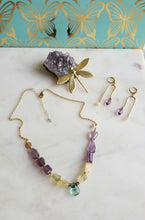 Load image into Gallery viewer, Calming Trio: Amethyst Citrine Fluorite Elegance (Purple 💜 Green Yellow)
