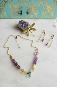 Calming Trio: Amethyst Citrine Fluorite Elegance (Purple 💜 Green Yellow)
