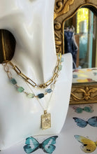 Load image into Gallery viewer, Fluorite nuggets on gold (Blue & Green)
