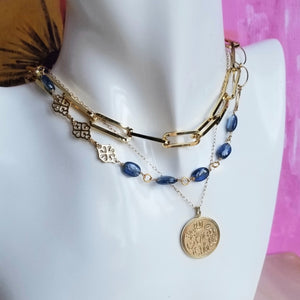 Denim-blue Kyanite nuggets on gold