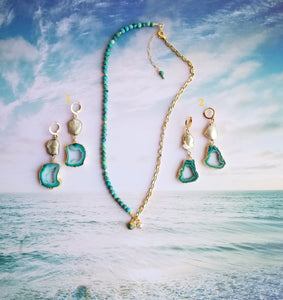 Summer Gold Lore (Turquoise & White & Silver Freshwater Pearls 🦪)