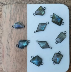 Mixed Metal with Labradorite Free Forms (Gold & Oxi Silver)