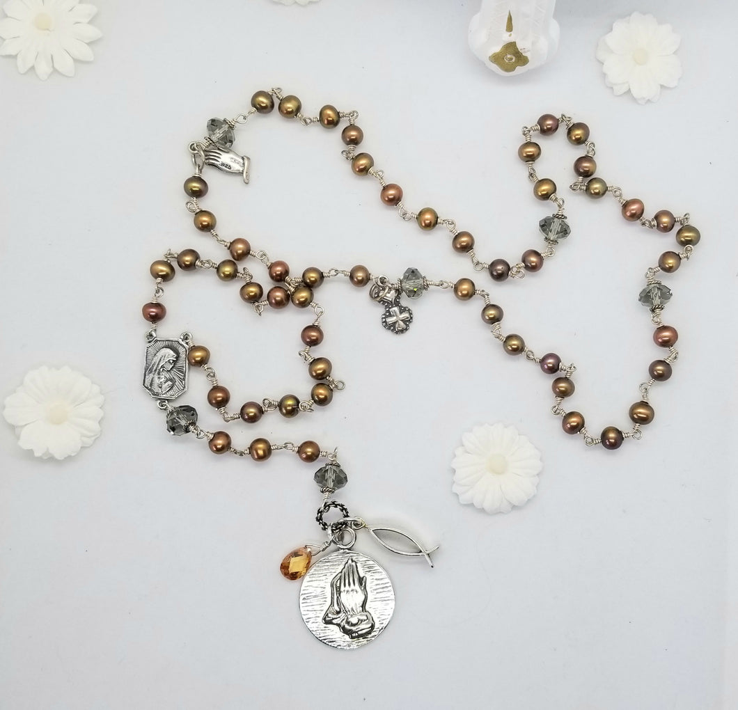Radiate your Inner Madonna ✞🙏📿: Serenity Rosary (Gold, Copper & Silver)