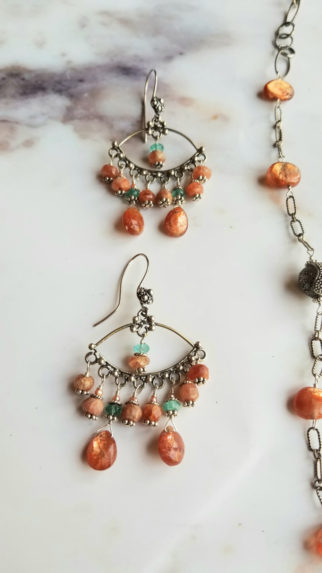 🆕️ Sunstone Reverie Earrings > (Pantone 2021: RUST with blue green & silver)