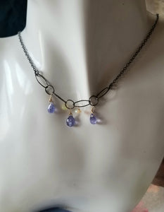 Tanzanite Trio (Periwinkle blue with Opals - December birthstone)