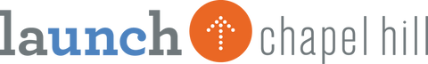 Launch Chapel Hill logo with a small orange circle encasing a white upward pointing arrow