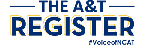 The A&T Register #VoiceofNCAT logo written in bold blue font
