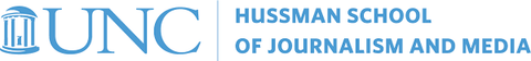 UNC Hussman School of Journalism and Media logo written in Carolina blue font