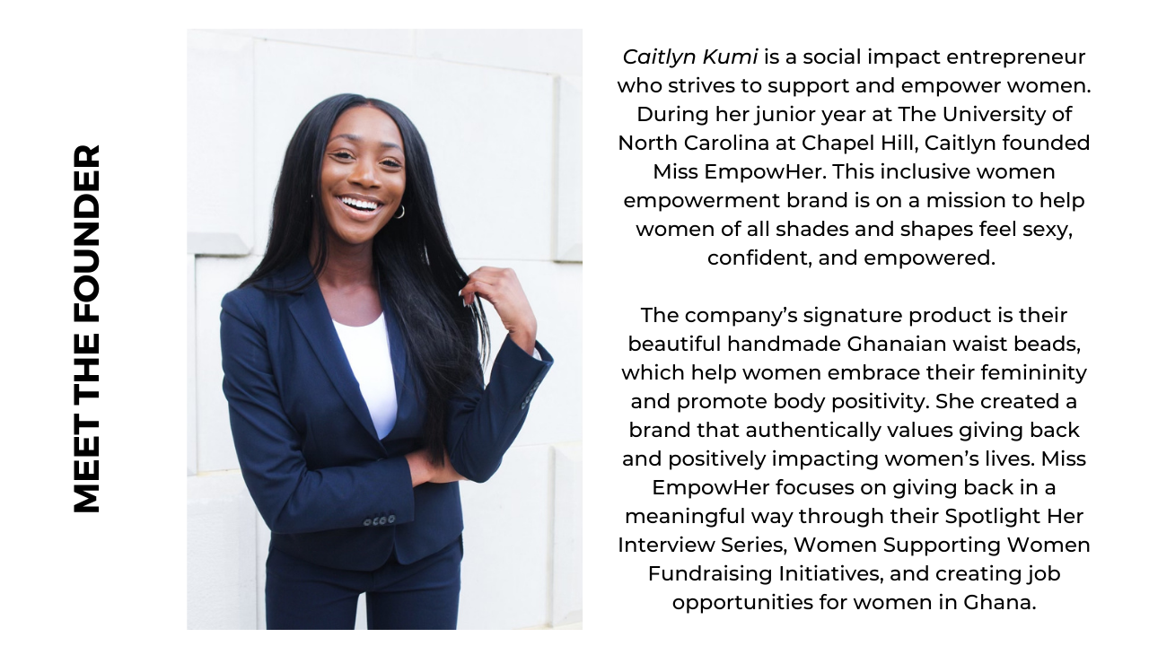 picture of caitlyn kumi, the founder and her short bio