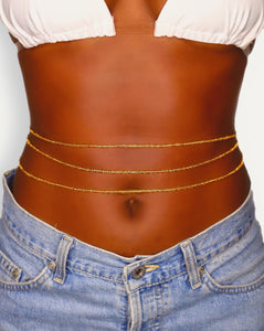 3 gold african waist beads for women