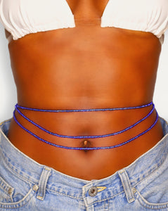 blue african waist beads for women triple