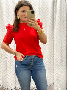 Poplin Puff Sleeve Top