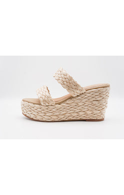 2-Band Raffia Braid Wedge
