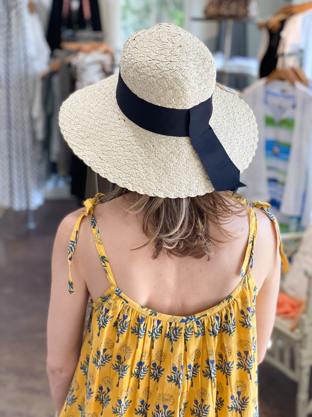 Beige Ribbon Band Woven Straw Hat