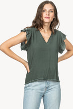 Load image into Gallery viewer, Ruffle Sleeve V Neck Top