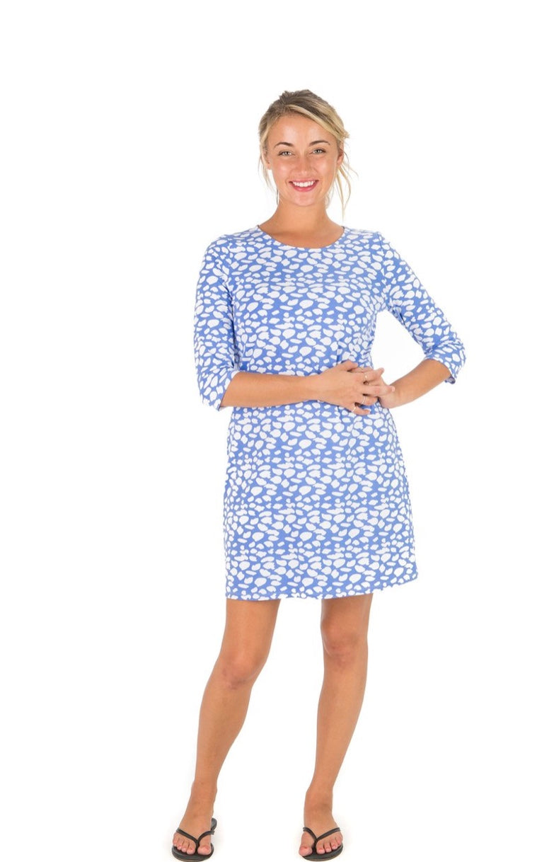 SPOTTED ANTIGUA 3/4 SLEEVE DRESS