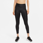 NIKE ONE WOMENS FAUX-LEATHER MID-RISE 7/8 TIGHTS