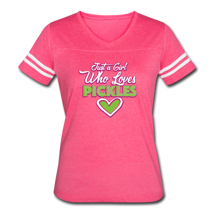 Just a Girl Who ❤️'s Pickles Sport V Neck - vintage pink/white