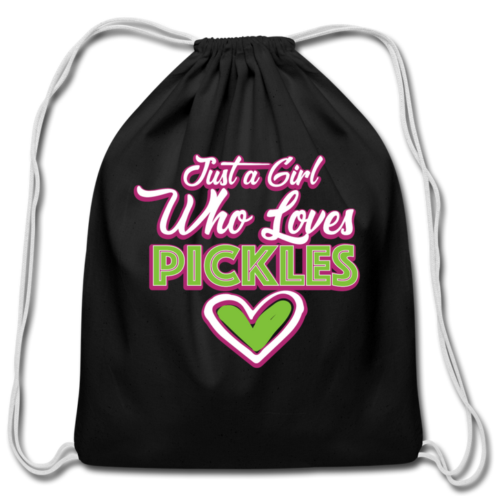 Just a Girl Who ❤️'s Pickles Drawstring Bag 🔥 - black