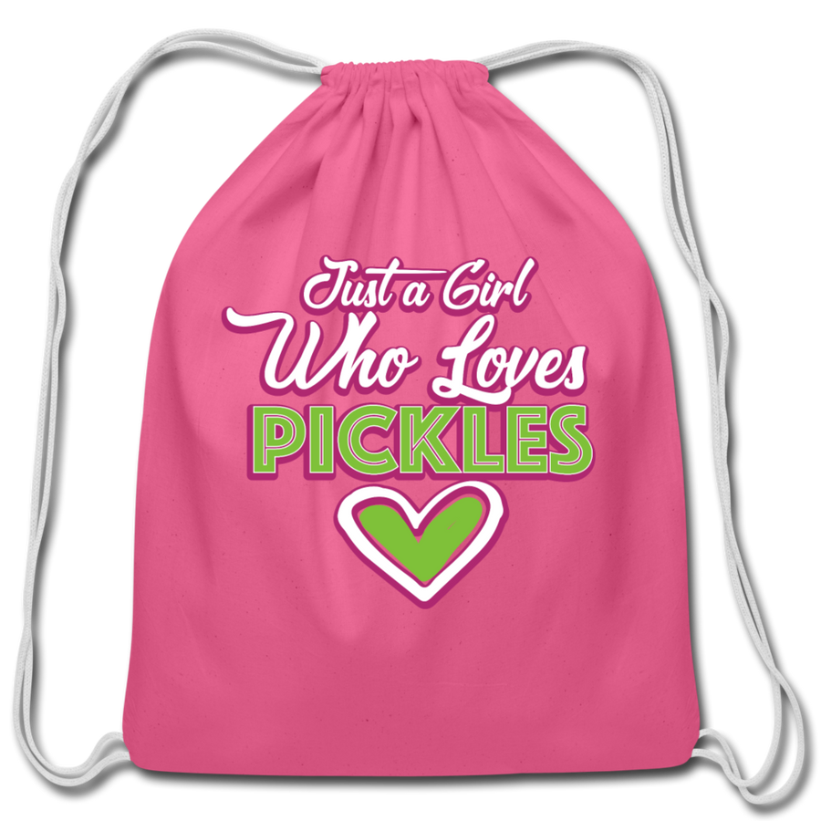 Just a Girl Who ❤️'s Pickles Drawstring Bag 🔥 - pink