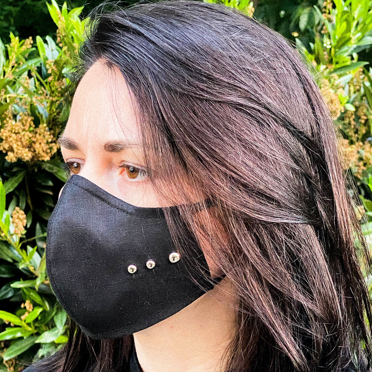 Black Face Masks with Filter Pocket & Silver Studs on the Sides | 100% Organic Linen