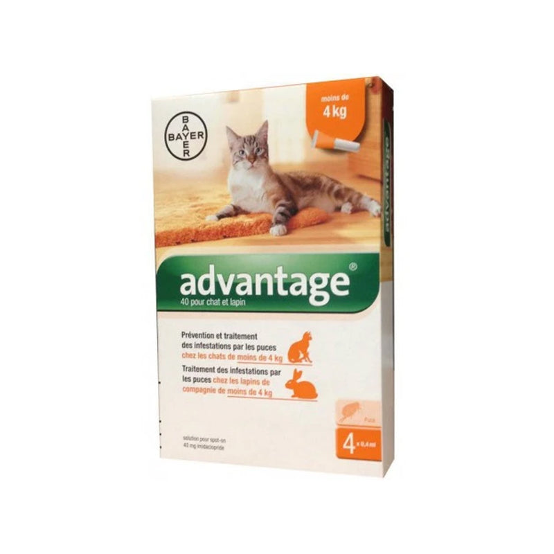 Advantage * Spot On Soluz 4 Pipettes 0,4 Ml 40 Mg Cats And Small Conig Li