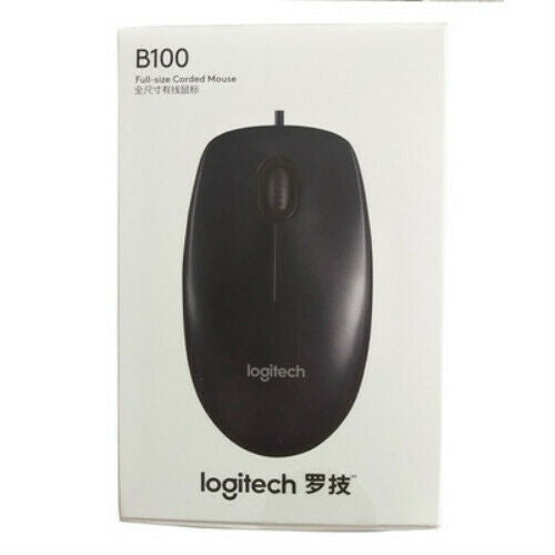 Logitech B100 Optical Wired Mouse for Office Home