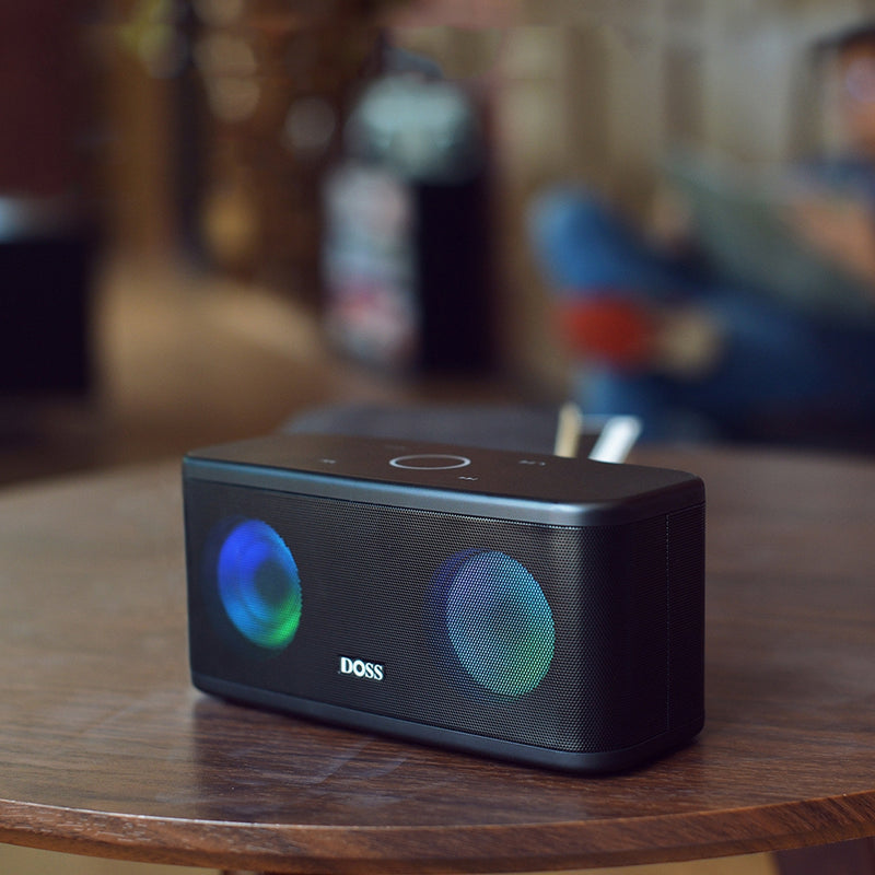 DOSS Stereo Sound Deep Bass 20H Playtime with LED Light SoundBox Plus Bluetooth Portable Wireless Speaker