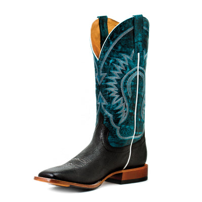 "Horse Power Men's Black Bull Hide 13"" Aqua Monet"