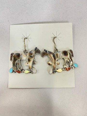 Shell Turquoise Coral Inlay Horse Earrings