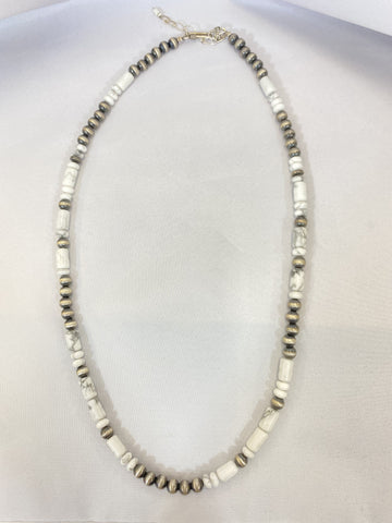 "Navajo Pearl and White Buffalo 22-24"" Necklace"