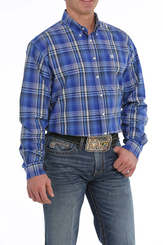 CINCH MEN'S ROYAL BLUE, CREAM AND BLACK PLAID BUTTON-DOWN WESTERN SHIRT