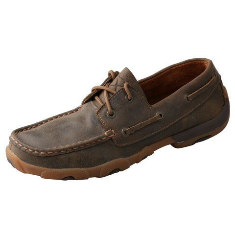 Twisted X Women's Bomber Boat Shoe Driving Mocs D Toe