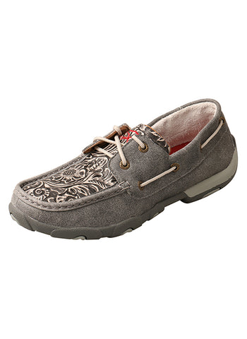Twisted X Woman's Grey Tooled Boat Shoe Driving Mocs D Toe