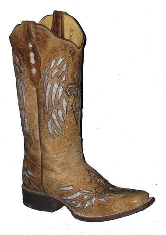 Cowtown Women's Tan Cross & Wings Square Toe Boots