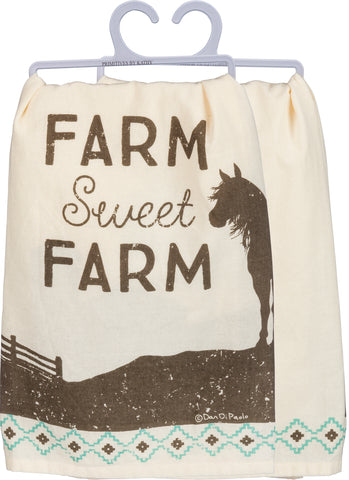 "Primitives by Kathy Dish Towel ""Farm Sweet Farm"" with Horse"