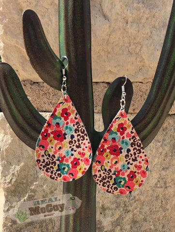 Floral Cheetah Leather Earrings