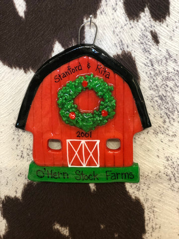 HCO Red Barn Christmas Ornament