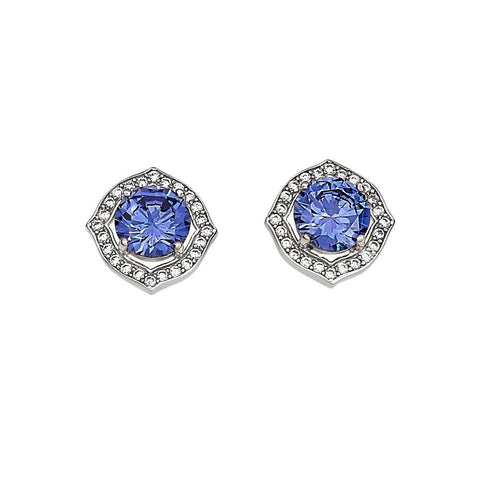 Blue with Clear Accents Earrings - Sterling Silver -