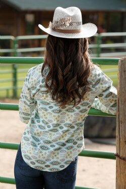 CINCH CRUEL GIRL WOMEN'S LIGHT BLUE, GREEN AND YELLOW PRINT SNAP WESTERN SHIRT