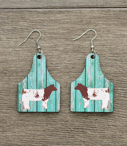 Shorthorn Cow Tag Wood Dangle Earrings